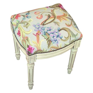 Handcarved Antique White/ Vines Needlepoint Stool