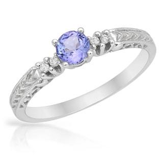 14k White Gold Tanzanite Diamond Accent Ring