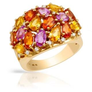 14k Yellow Gold 1/16ct TDW Diamond Multi-sapphire Ring (H-I, SI1-SI2)