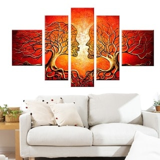 'Red Human Tree' Hand-painted Oil on Canvas 5-piece Set