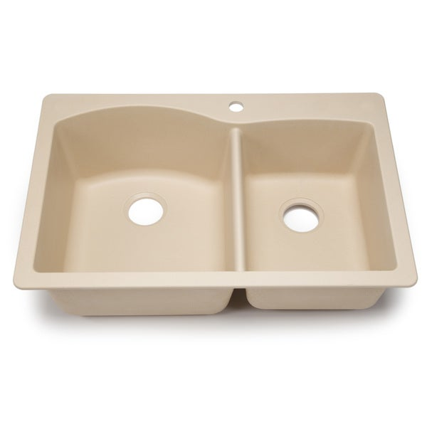 Blanco Silgranit Diamond Biscotti 1-3/4 Dual Mount Double Bowl Kitchen ...