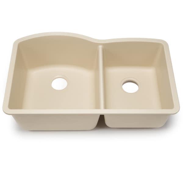 Blanco Silgranit Diamond Biscotti 1-3/4 Undermount Double Bowl Kitchen ...