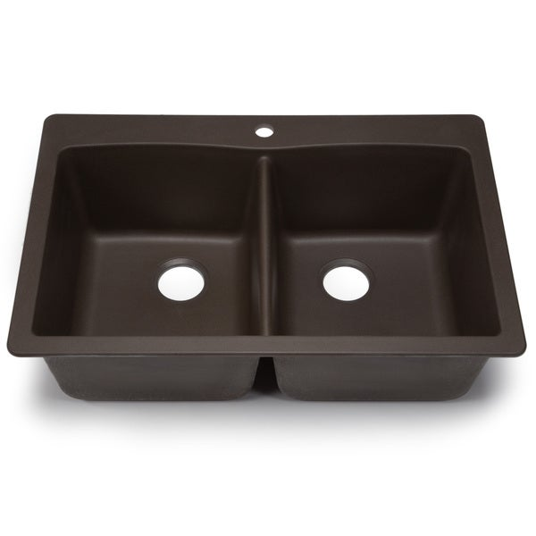 ... Silgranit Diamond Cafe Brown Dual Mount Equal Double Bowl Kitchen Sink