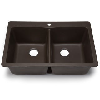 Blanco Silgranit Diamond Cafe Brown Dual Mount Equal Double Bowl Kitchen Sink