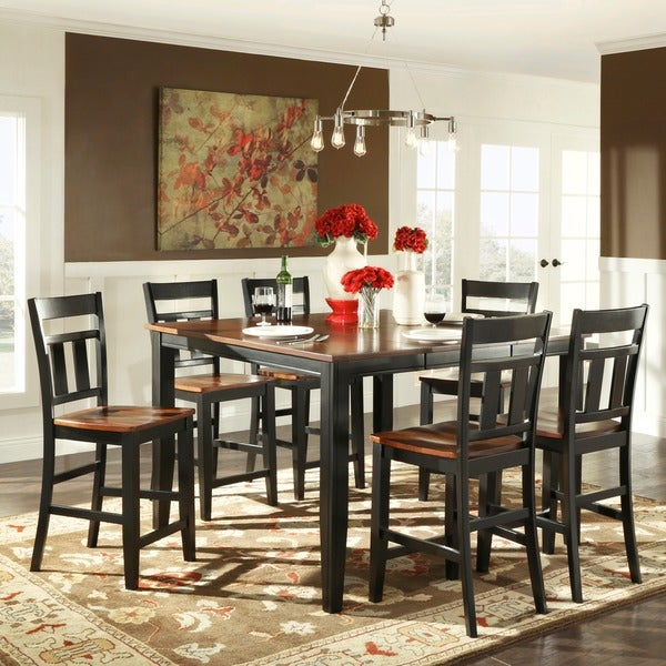 Counter Height Rustic Dining Sets : ... Eli Rustic Black Cherry 7-piece Extending Counter Height Dining Set