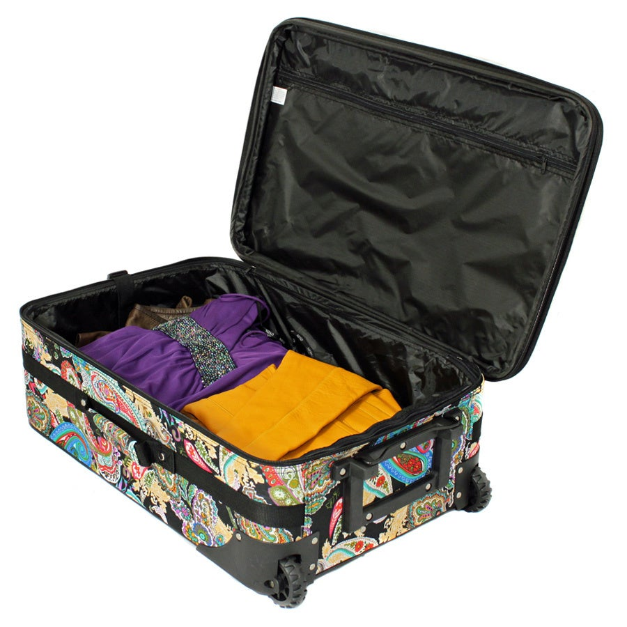 World Traveler Designer Paisley Expandable 3-piece Wheeled Upright Luggage Set