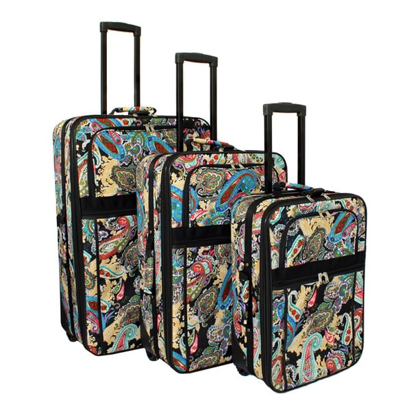 Designer Paisley Expandable 3-piece Wheeled Upright Luggage Set