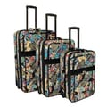 Designer Paisley Expandable 3-piece Wheeled Upright Luggage Set