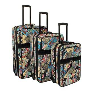 World Traveler Designer Paisley Expandable 3-piece Wheeled Upright Luggage Set