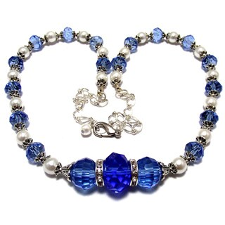 Light Sapphire Blue Crystal and White Glass Pearl Wedding Jewelry Set