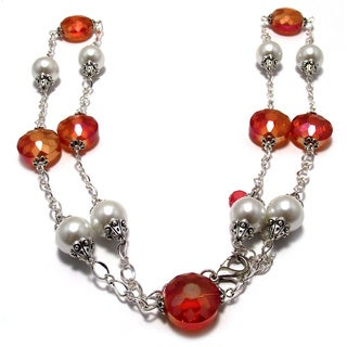 Orange Crystal and White Pearl 4-piece Wedding Jewelry Set