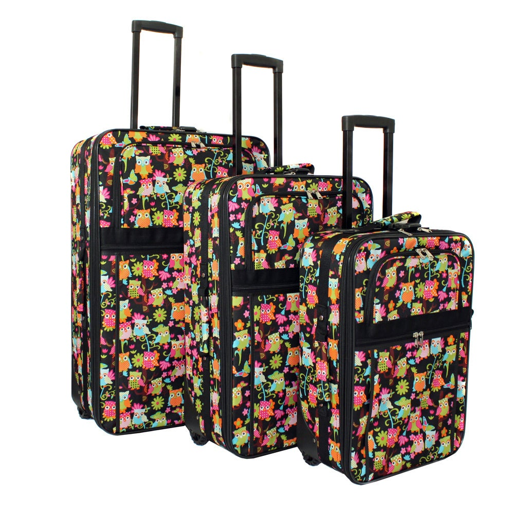 World Traveler Vibrant Owl Expandable 3-piece Wheeled Upright Luggage Set