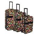 Vibrant Owl Expandable 3-piece Wheeled Upright Luggage Set