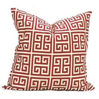 Red Greek Key Feather Down Filled Throw Pillow