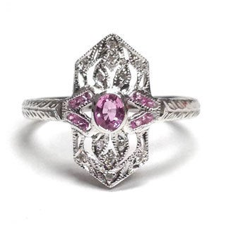 Diamonds for a Cure by Neda Behnam 14k Gold Diamond and Pink Sapphire Ring