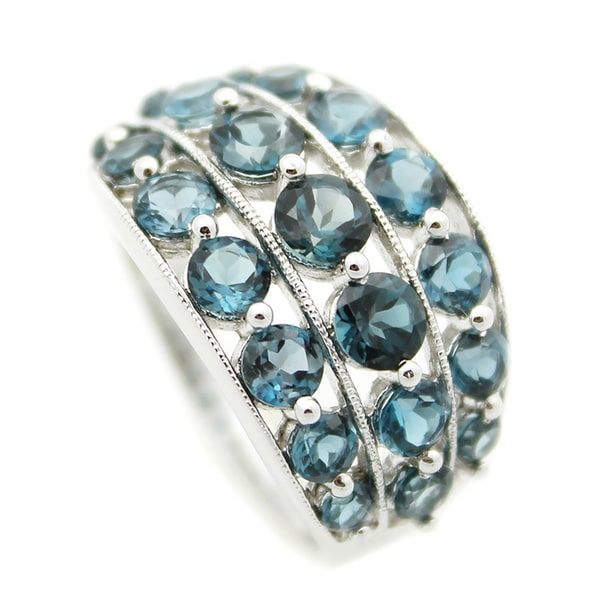 Sterling Silver Three-row Round-cut London Blue Topaz Ring