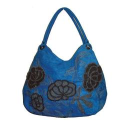 Women's Bamboo54 Hobo Embroidered Bag Blue/Grey Flowers
