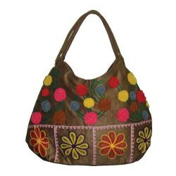 Women's Bamboo54 Hobo Embroidered Bag Tan/Color Dots