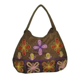 Women's Bamboo54 Hobo Embroidered Bag Tan/Red Bursts