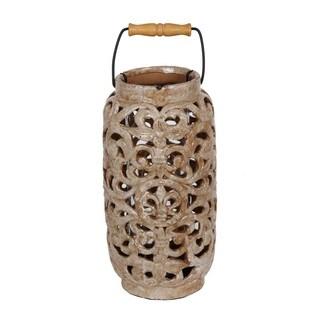 Large Brown Ceramic Lantern with Handle
