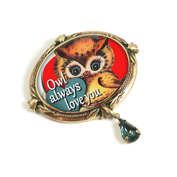 Sweet Romance Owl Always Love You Retro Valentine Pin
