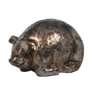 Medium Metallic Gold Ceramic Decorative Pig