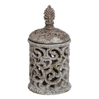 Medium Pierced Cement White Ceramic Decorative Piece