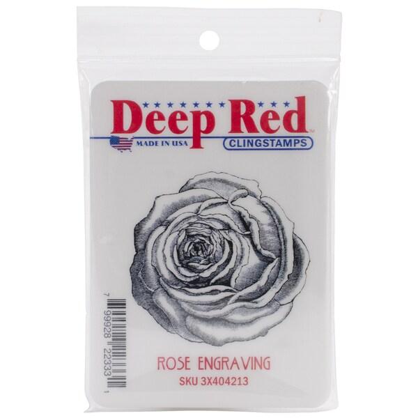 Deep Red Cling Stamp 2.1 X2.1 - Rose Engraving