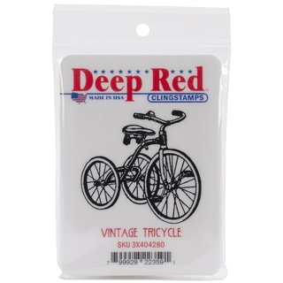 Deep Red 2-inch Vintage Tricycle Rubber Cling Stamp