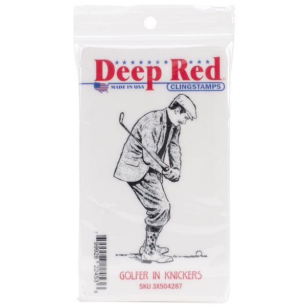Deep Red Cling Stamp 2 X3 - Golfer In Knickers