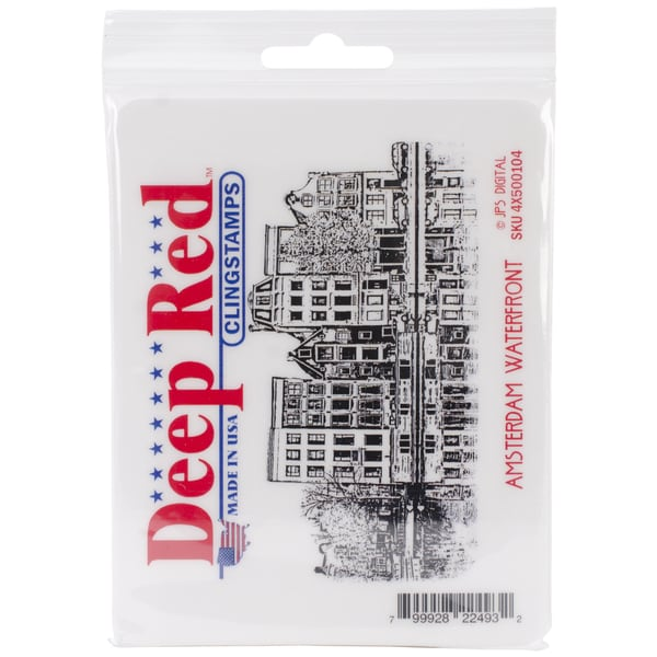 Deep Red Cling Stamp 4 X2.5 - Amsterdam Water Front