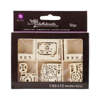 Laser Cut Wood Icon Embellishments In Box To 1.5 30/Pkg - Cameras