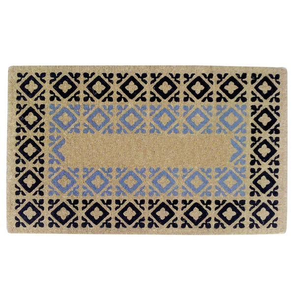 Heavy-duty Crispin Black/ Blue Coir Doormat