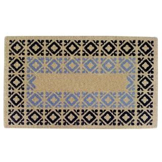 Heavy-duty Crispin Black/ Blue Coir Doormat