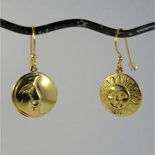 Brass Sun Moon Eclipse Dangle Earrings (Indonesia)