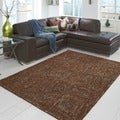 Hand-tufted Dawson Brown Wool Rug (3'6 x 5'6)