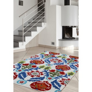nuLOOM Hand-tufted Transitional Flowers Wool Multi Rug (7'6 x 9'6)