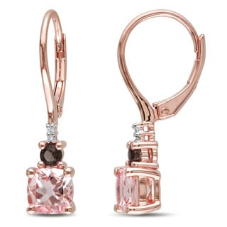 Miadora Rose Gold Flashplated Silver Morganite, Smokey Quartz and Diamond Accent Earrings