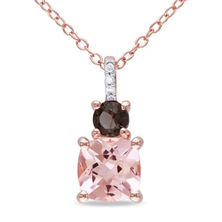 Miadora Rose Gold Flashplated Silver Morganite, Smokey Quartz and Diamond Accent Necklace