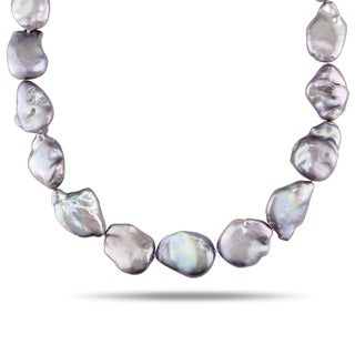 Miadora Sterling Silver Freshwater Grey Baroque Pearl Necklace (15-15.5 mm)