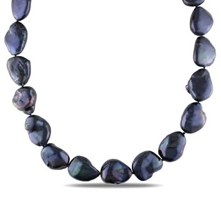Miadora Sterling Silver Black Baroque Cultured Freshwater Pearl Necklace (15-15.5 mm)