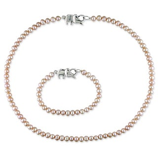 Miadora Sterling Silver 2-piece Set of Baby Pink Pearl Necklace and Bracelet (4-5 mm)