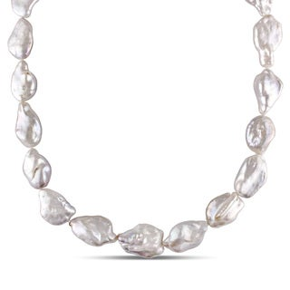Miadora Sterling Silver White Cultured Freshwater Pearl Necklace (14-15 mm)