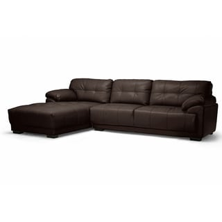 Baxton Studio DeCarlo Dark brown Leather Modern Sectional Sofa