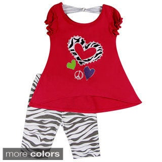 Girls Zebra/ Heart Print Crew Top and Leggings Set