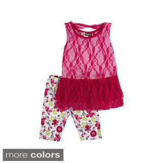 Girls 'Pretty in Lace' Floral Leggings and Tank Set