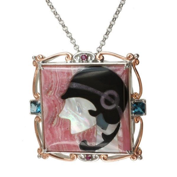 """Michael Valitutti Two-tone Multi-gemstone and Mother of Pearl Inlay, Ruby and London Blue Topaz """"Lady"""" Necklace"""