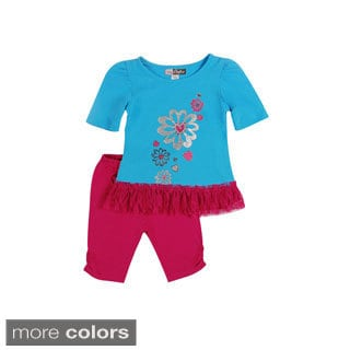 Girls 'Glittery Flowers' Top and Leggings Set