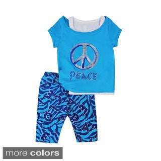 Girls 'Zebra Peace' Layered Top and Leggings Set