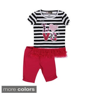 Girls 'Love in Stripes' Top and Leggings Set